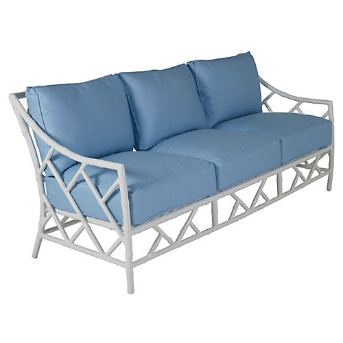 Kit Sofa, Blue/White Sunbrella