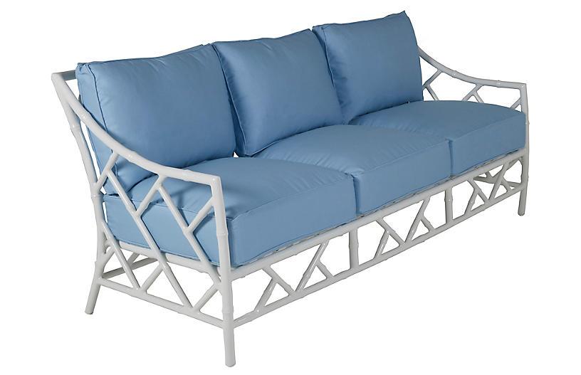 Kit Sofa, Blue/White Sunbrella
