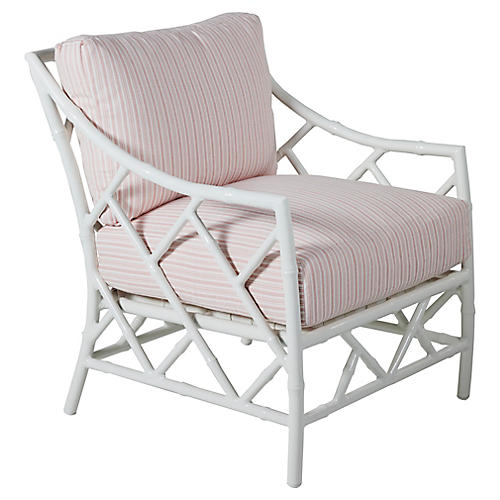 Kit Lounge Chair, White/Pink Stripe