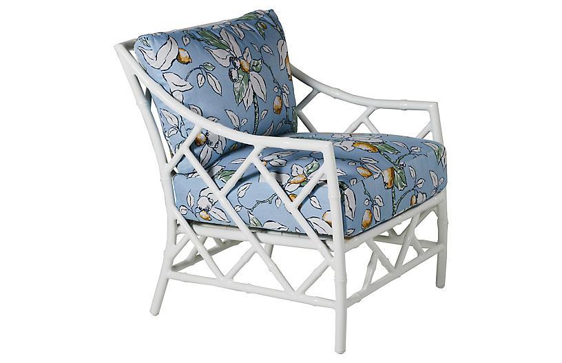 Kit Lounge Chair, White/Lemons