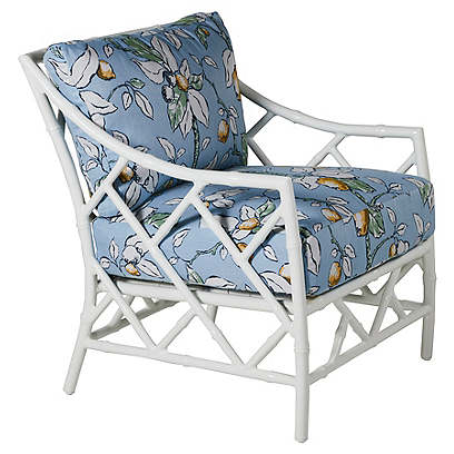 Kit Lounge Chair, White/Lemons Sunbrella