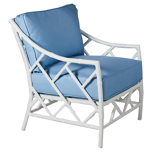 Kit Lounge Chair, Blue/White Sunbrella