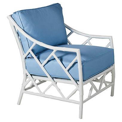 Kit Lounge Chair, Blue/White Sunbrella