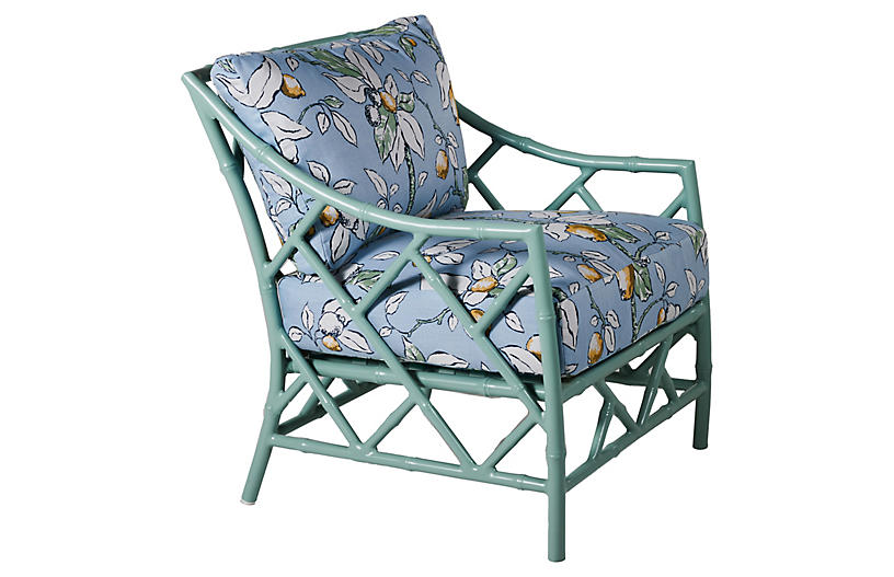 Kit Lounge Chair, Celadon/Lemons Sunbrella