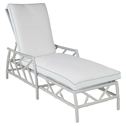 Kit Chaise, White/Blue Sunbrella