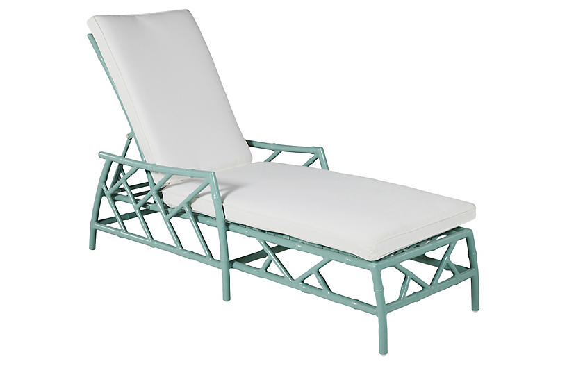 Kit Chaise, Celadon/White