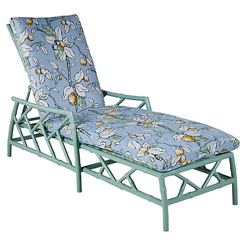 Kit Chaise, Celadon/Lemons Sunbrella