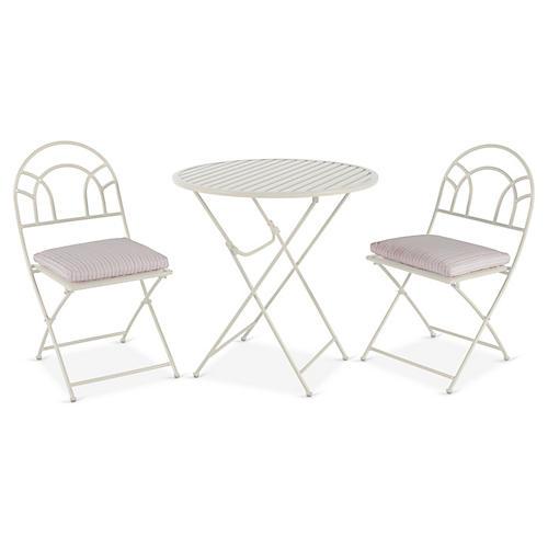 Stella 3-Pc Folding Bistro Set, White/Pink