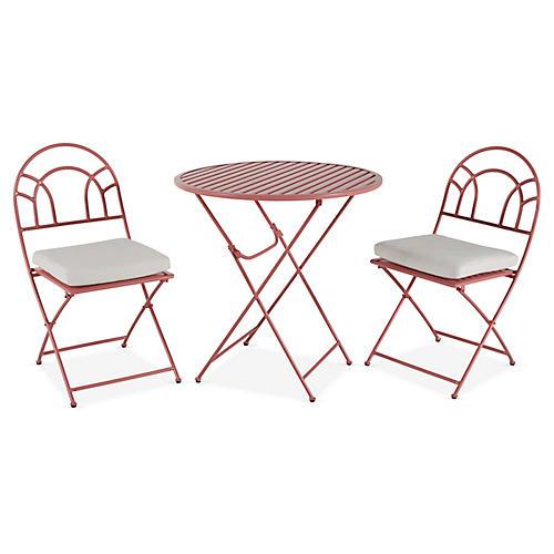 Stella Folding Bistro Set, Pink/White
