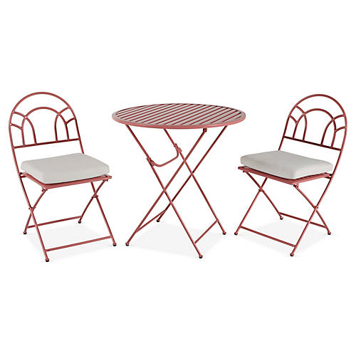 Stella Folding Bistro Set, Pink/White