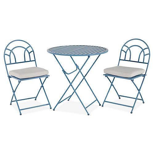 Stella Folding Bistro Set, Blue/White