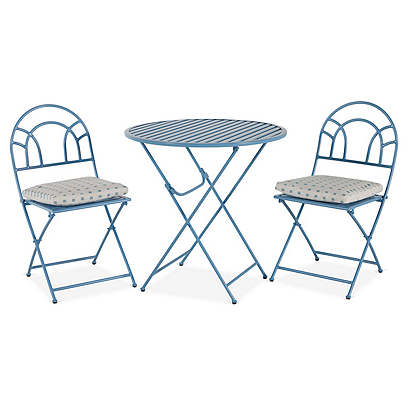 Stella Folding Bistro Set, Blue Dot