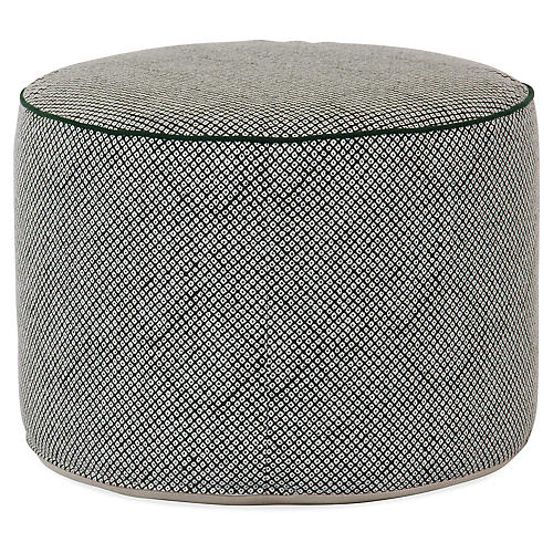 Shibori Pouf, Green/White