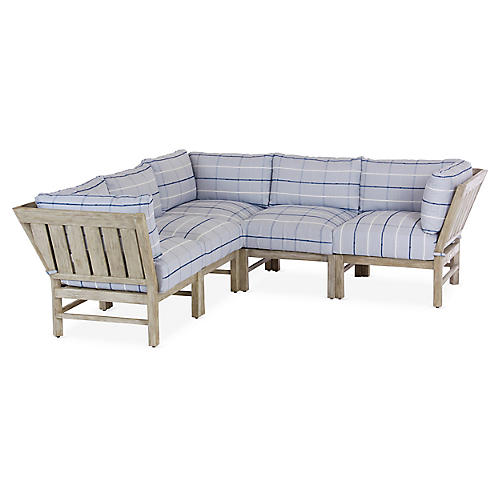 Club 5-Pc Sectional, Blue/White