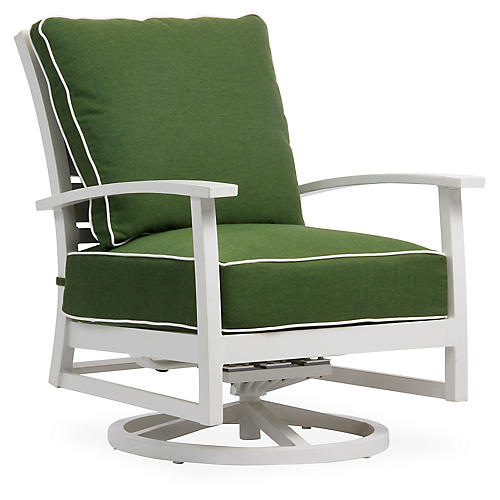 Charleston Swivel Lounge Chair, Green/White