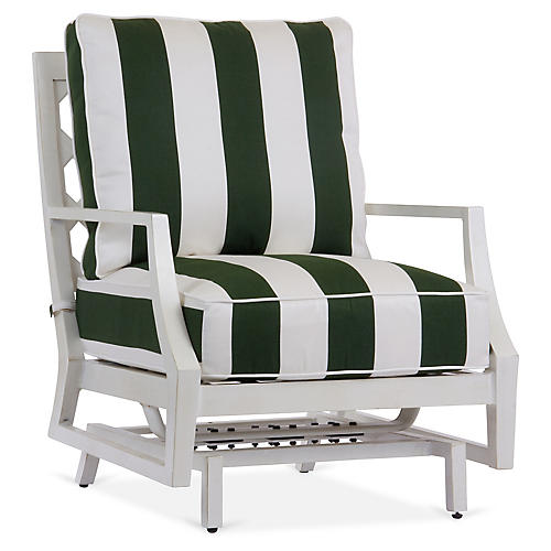Lattice Spring Lounge Chair, Green/White