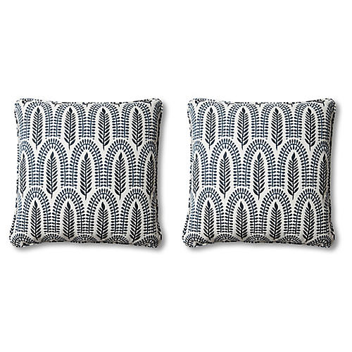 S/2 Frances Pillows, Indigo Leaf