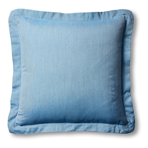 S/2 Frances Pillows, Ocean Blue/White