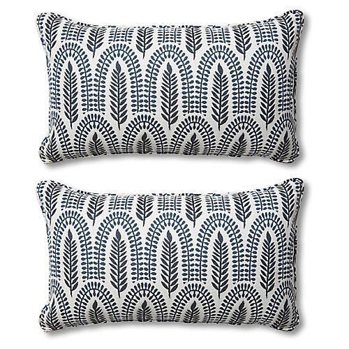 S/2 Frances Lumbar Pillows, Indigo Leaf