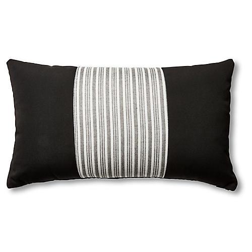 S/2 Frances Lumbar Pillows, Black/White Stripe