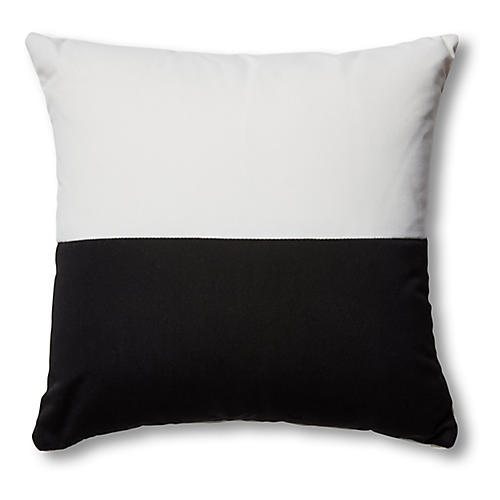 S/2 Frances Color-Block Pillows, Black