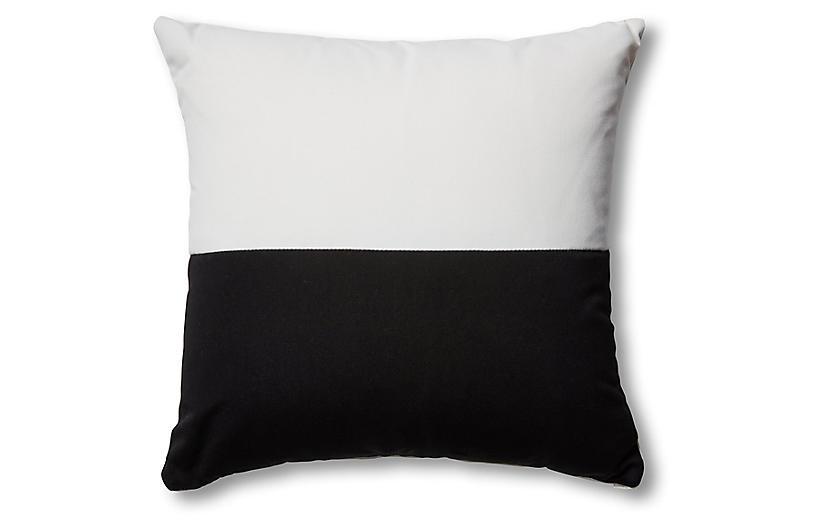 Frances Color-Block Pillow, Black