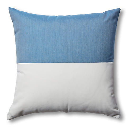 Frances Outdoor Color-Block Pillow, Ocean Blue
