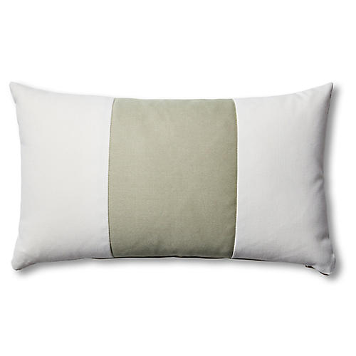 S/2 Newport Lumbar Pillows, White/Sage