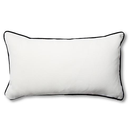 S/2 Newport Lumbar Pillows, White/Black