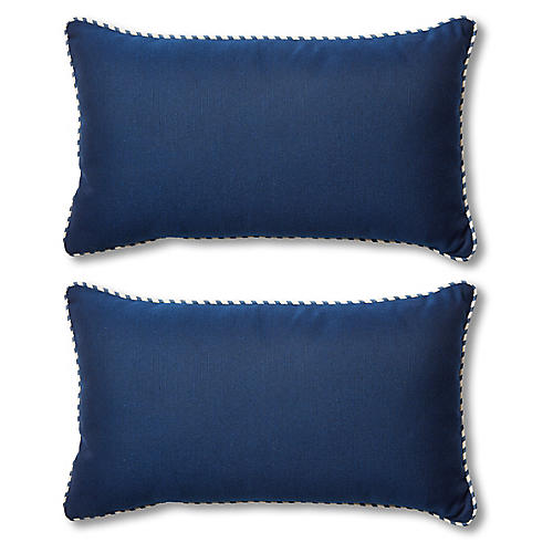 S/2 Newport Lumbar Pillows, Navy