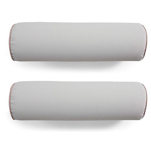 S/2 Kendal Bolster Pillows, White/Blush Pink