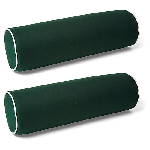 S/2 Kendal Bolster Pillows, Green/White