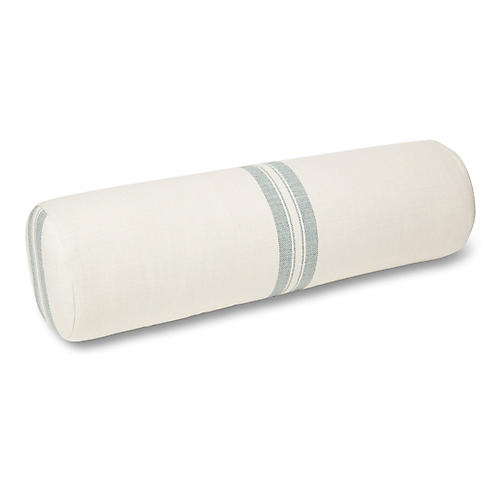 S/2 Kendal Bolster Pillows, White/Mist Stripe