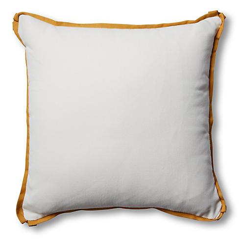 S/2 Kit Outdoor Pillows, White/Mustard