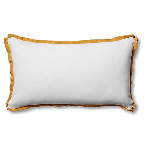 Kit 14x24 Outdoor Lumbar Pillow, White/Mustard
