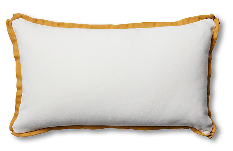 Kit 14x24 Outdoor Lumbar Pillow, White/Mustard
