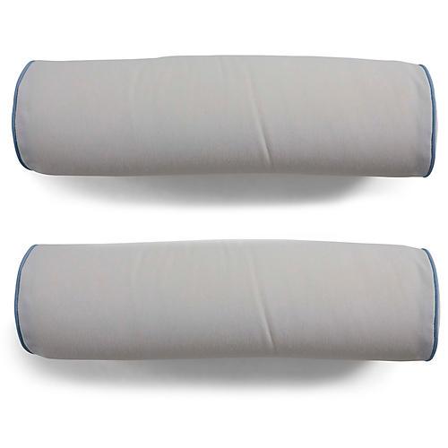 S/2 Kit Outdoor Bolster Pillows, White/Blue