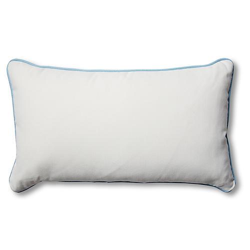 Kit 14x24 Outdoor Lumbar Pillow, White/Blue