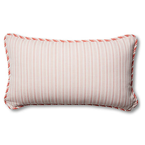 S/2 Kit Outdoor Lumbar Pillows, Pink/White