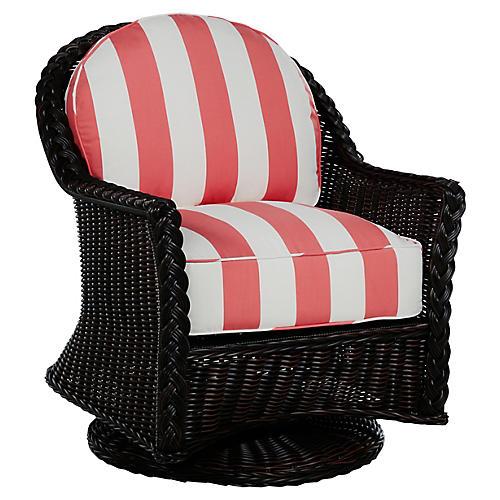 Sedona Swivel Lounge Chair, Coral/Black