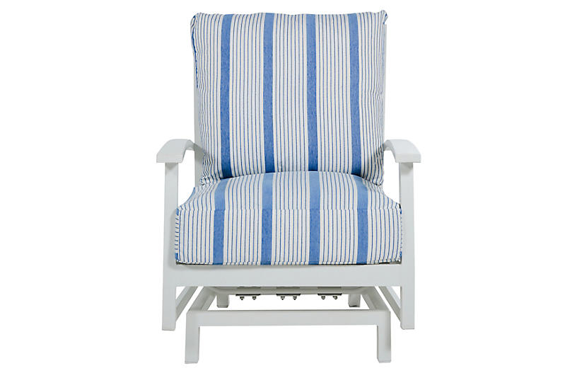 Charleston Spring Lounge Chair, Blue/French Linen