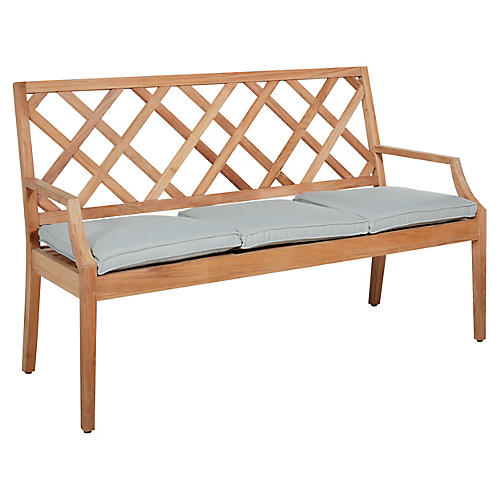 Haley Bench, Blue/Natural
