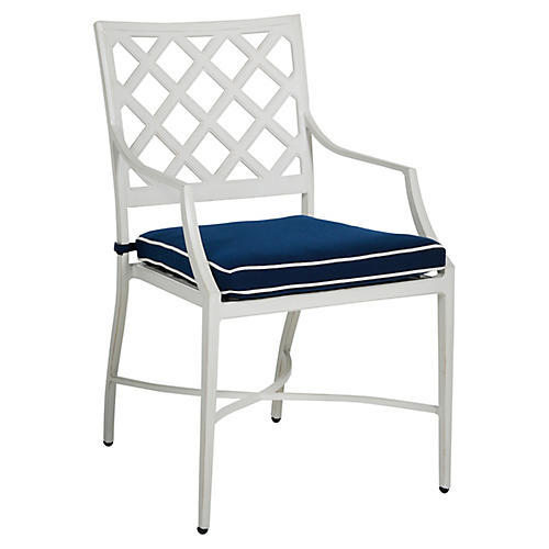 Lattice Armchair, Navy/French Linen