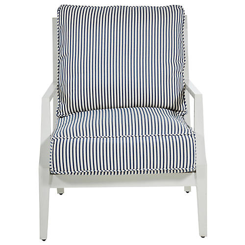 Lattice Lounge Chair, Blue/French Linen