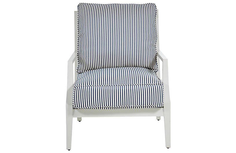 Lattice Lounge Chair, Blue/French Linen