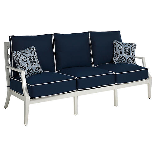 Lattice Sofa, Navy/French Linen
