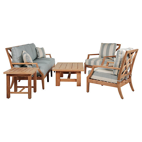 Haley 5-Pc Chat Set, Blue/Natural