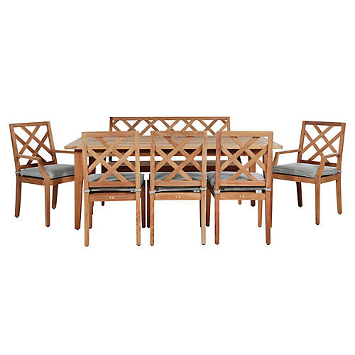 Haley 7-Pc Dining Set, Blue/Natural