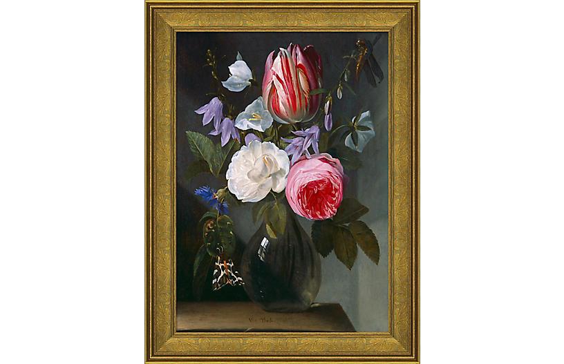 Floral Portrait in Glass Vase
