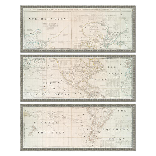 Silver-Leaf Map Triptych Maps